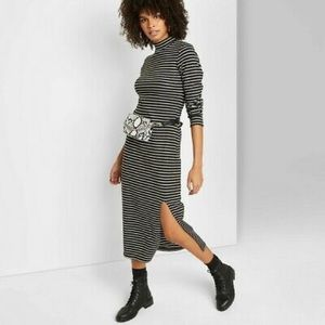 wild fable Mock Turtleneck Rib Knit Midi Dress